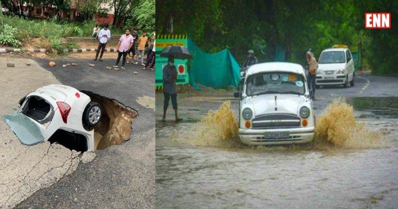 Delhi Rains Car Video